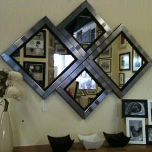 NEW MODERN SILVER/BLACK DIAMOND WALL MIRROR 115 X 86CM