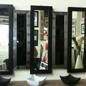 NEW BLACK/SILVER 5 PANEL WALL MIRROR/GLASS 105 X 76 CM